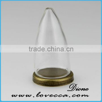 Hot sale micro landscape glass cover with wooden base /dome cover decoration