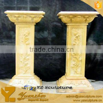 Antique Flowers Yellow Marble Columns for Sale