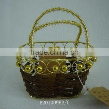 Paper rope wire korean style bag with gold handle