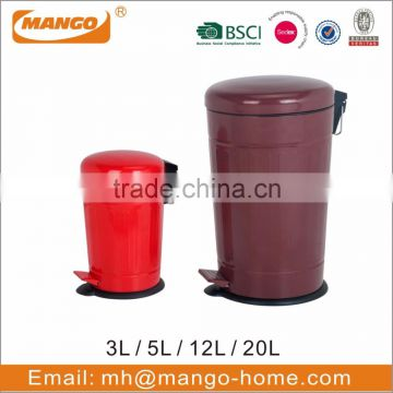 Soft closed cone pedal trash can with colorful coating