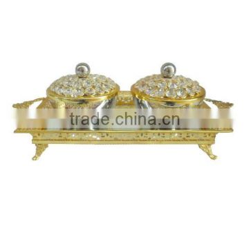 Food grade Set of Crystal gold plated serving bowl set with gold serving tray, Food serving set