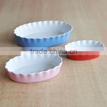 Set of 3 Oval Shape Bake Dish, Stoneware with Solid Color