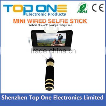 Free battery Free charge No bluetooth cable take pole selfie stick