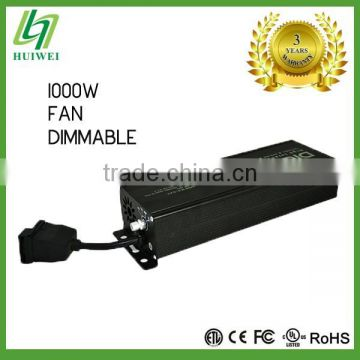 Hydroponic 1000W Lighting Fixture Electronic Dimmable Ballast With Cooling Fan Original Manufacturer