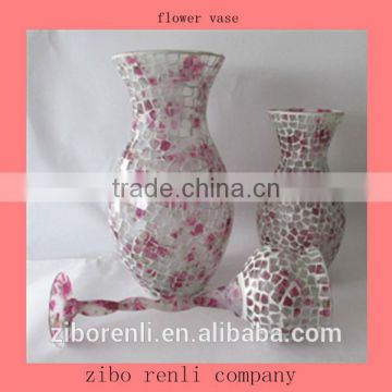 Wedding Ornament Pink Rose Pattern Mosaic Designs Single Cheap Wholesale Glass Flower Vase