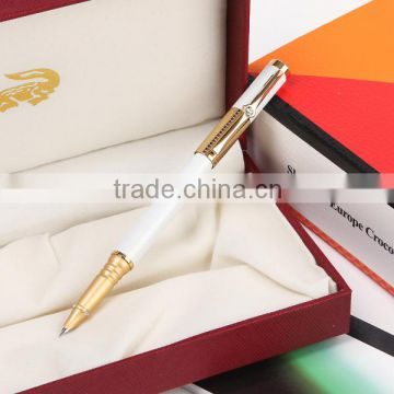 Milky color Crocodile gold plating thin fountain pen for gift