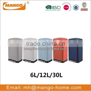 Color coated pedal dust bin with soft closed lid