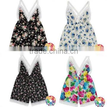 Newborn Baby Girls Sleeveless Backless Floral Romper