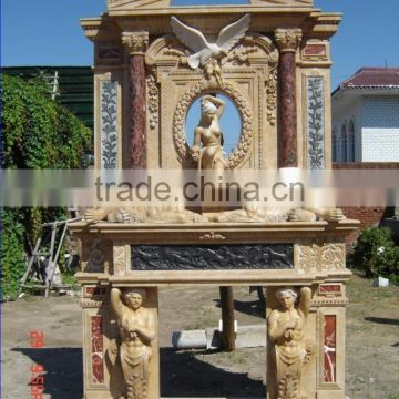 Double tired two sided carved eagle statue marble fireplace NTMF-F822A