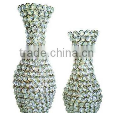 High quality Crystal beads silver decoration flower vases, Silver Vase
