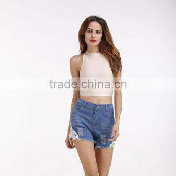 China Suppliers Embroidered Logo Sexy Denim Jeans Women Shorts On Sale