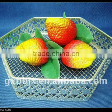 Silver hexagonal wire storage fruit basket recycling home decoration