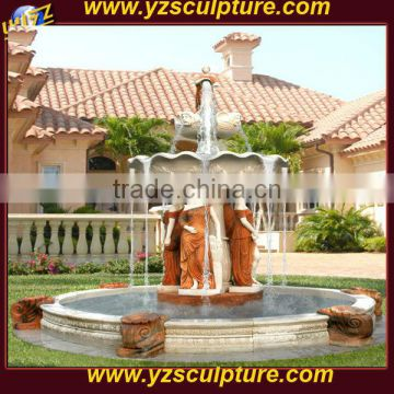Outdoor Yellow Marble Swan Water Fountain