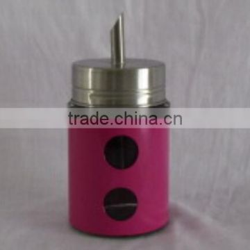 colored metal coated new design fancy oil bottle