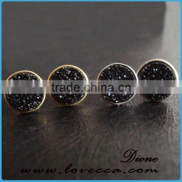 Factory Price 18k Gold Plated black druzy earrings Drusy Stud Earrings