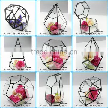 Indoor Plant Greenhouse Rose Gold Frame Hanging Glass Geometric Terrarium