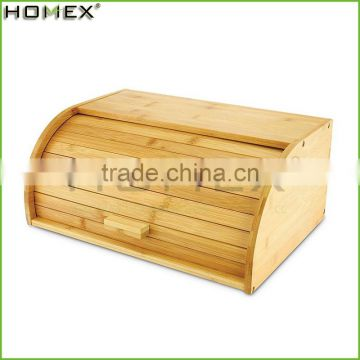 Bamboo roll top bread bin french bread box Homex BSCI/Factory