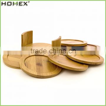 6pc Cup Coaster Set with Round Holder/Bamboo Trivet Set/Homex_FSC/BSCI Factory