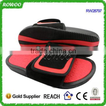 Red Leather Mens PU Leather Slide Sandals