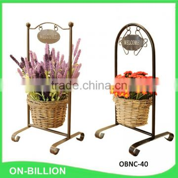 Welcome iron frame pretty hand woven wicker plant basket