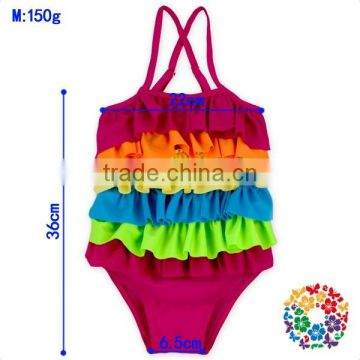 Pretty Rainbow Ruffle Baby Girls Swimsuit One Piece