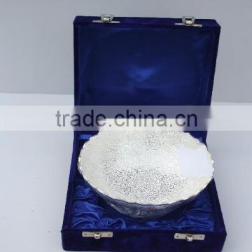 Silver plated Brass Bowl with emboss in a blue velvet Box