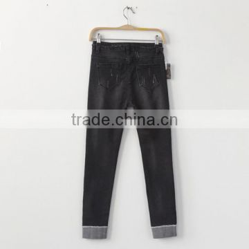 2017 OEM Casual ripped women denim pants L6983 simple style
