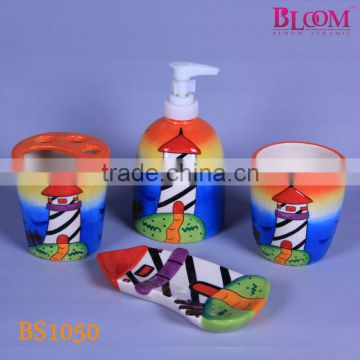 Tower design fashion cheap ceramic bathroom set