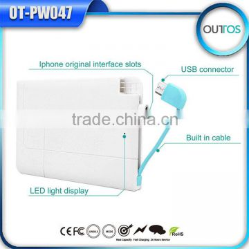 Wholesale slim li-polymer battery credit card power bank 2600mah