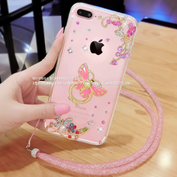 Ring Stent Holder soft silicone cell phone cover case diamond mobile Phone Cases for iPhone7/7Plus/6/6s/6plus/6splus