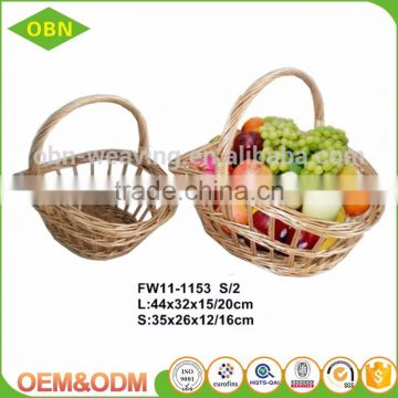 Wholesale large empty wedding gift fruit basket decoration wicker basket