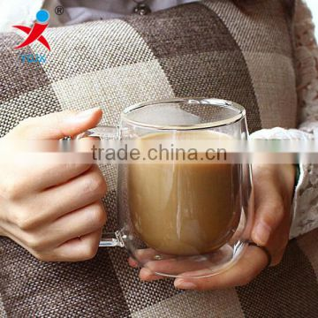 Good quality handmade 200ml double wall glass/ borosilicate double wall glass cup for coffee and milk