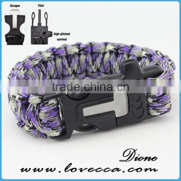 2016 custom with flint fire starter survival paracord bracelet with logo