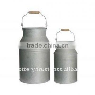 AQC Galvanized zinc vase,Galvanized zinc watering can , Zinc Pot Planter, zinc planter for gardening and household