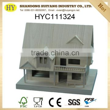 FSC customized natural unfinished wooden doll house wholesale