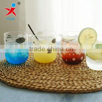 Milk tea cups with handles the girl small pure and fresh and creative glass cup