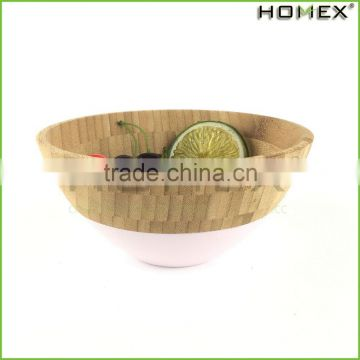 Bamboo Salad Bowl Set Fruit Bowl with Pink Edge Homex BSCI/Factory