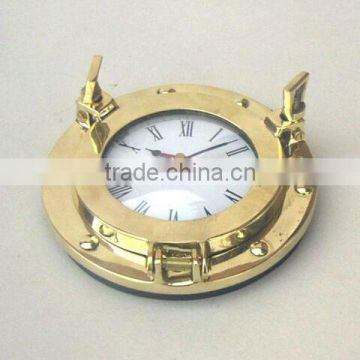 Brass polished port hole clock, Porthole wall clock