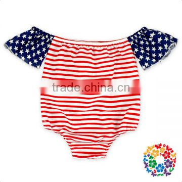 Baby Girls 4Th If July New Style Off Shoulder Flag Romper Fashion Design Flutter Sleeve Romper Baby
