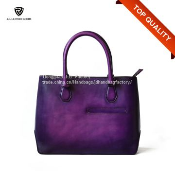 Handpainted Plain Genuine Calf Leather Handbag/Private Label Handbag Manufacturer