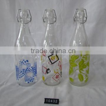 1000ml color printing glass beverage dispenser with stand in various sizes