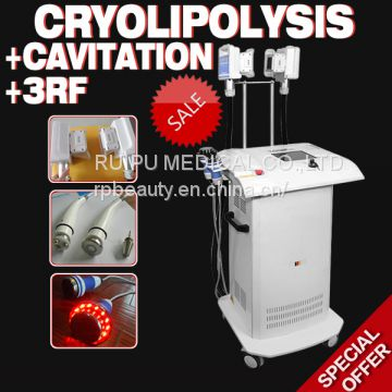 Vertical Professional Cryolipolysis fat freezing, Cavitation cellulite burning, RF wrinkle removal beauty device