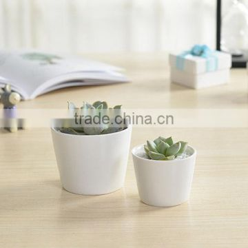 Indoor mini ceramic decor white plant pot