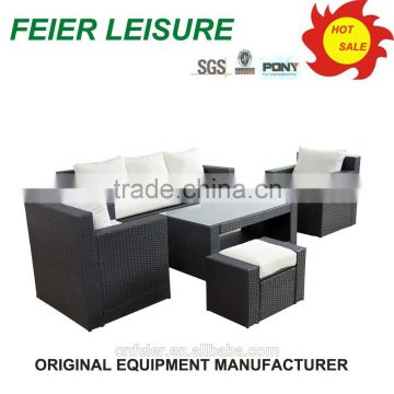 high quality lowes patio rattan furniture sofa set