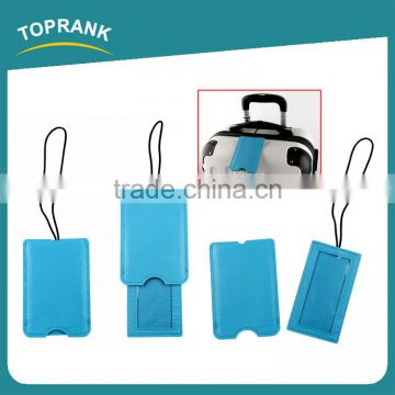 Toprank Hot Selling Customized Logo Personalized Blue Tag Luggage Pu Travel Pu Luggage Tag