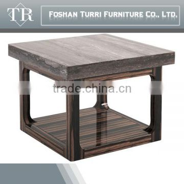 Wooden base travertine top side table with ebony base