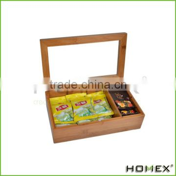 Bamboo Tea Box With Clear Acrylic Lid 8 Compartment Multipurpose Storage