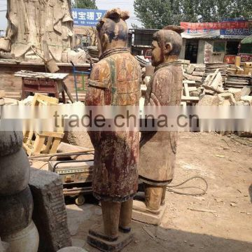 Antique wooden carving statues,Wood Terracotta Warrior sculptures