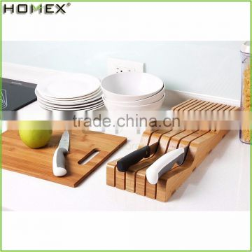 Bamboo Knife Organizer with Slots/Knife Holder Block for Kitchen/Homex_FSC/BSCI Factory