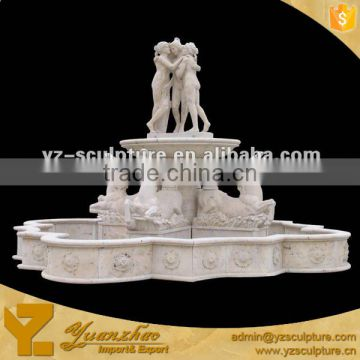 outdoor Stone Water Fountain With a big Fountain Basin